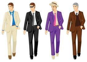 conjunto de homens em ternos diferentes