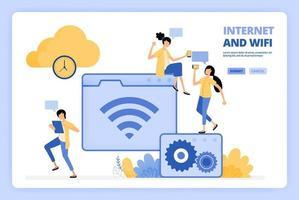 as pessoas adoram usar internet e wi-fi. armazenamento em nuvem com largura de banda rápida. as pessoas acessam a internet. projetado para página de destino, banner, site, web, pôster, aplicativos móveis, página inicial, folheto, brochura vetor