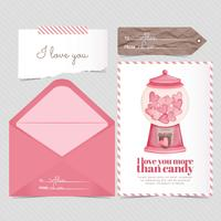 Cartão de doces de vetor e Envelope