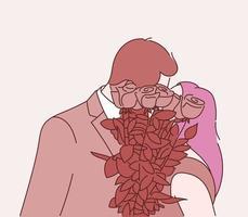 amor, namoro, romance, relacionamento, união, conceito de casal. o casal se beija e cobre o rosto com um buquê. vetor