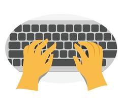 mãos humanas digitam o teclado vetor