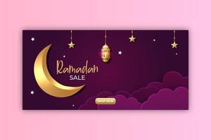design de anúncios de banner de venda do Ramadã. ilustração vetorial