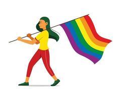 mulher segurando uma bandeira do arco-íris para o movimento lgbt vetor