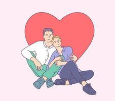 conceito de estilo de vida no tema do dia dos namorados. casal jovem sorridente feliz abraçando no dia dos namorados. ilustração vetorial plana