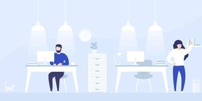 pessoas que trabalham no coworking, espaço de escritório aberto, vector illustration.eps