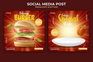 design de anúncios de banner de comida ou culinária. modelo de postagem de mídia social editável. ilustração vetorial com hambúrguer realista.