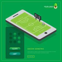 Ilustração de jogo móvel de futebol isométrica vetor