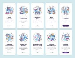 tela da página do aplicativo móvel de integração de ensino online com conjunto de conceitos vetor