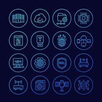 servidores, rede, hospedagem e ícones de linha de dados set.eps vetor