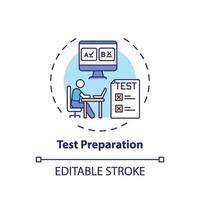 ícone de conceito de preparação de teste vetor