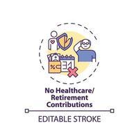 nenhum ícone de conceito de contribuições para saúde e aposentadoria vetor