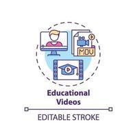 ícone do conceito de vídeos educacionais