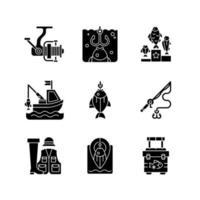 equipamento para pescar ícones de glifo preto definidos no espaço em branco