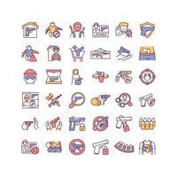 conjunto de ícones de cores rgb de controle de armas