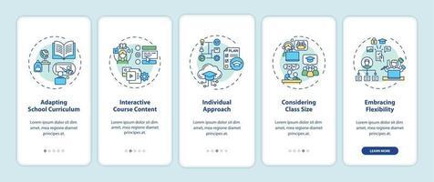 dicas de ensino on-line tela de página de aplicativo móvel com conceitos