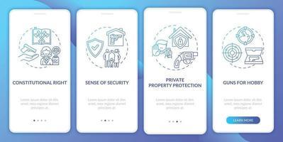 direito da arma azul escuro integração tela da página do aplicativo móvel com conceitos