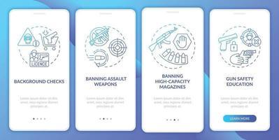 tela da página do aplicativo móvel de integração com as diretrizes de segurança de armas azul escuro com conceitos