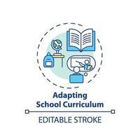 adaptando o ícone do conceito de currículo escolar vetor