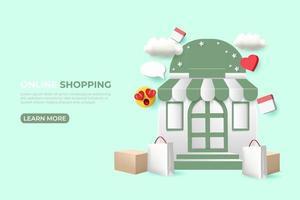 banner de anúncios de compras online. Modelo de postagem de mídia social 3D. vetor