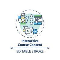 ícone de conceito de conteúdo de curso interativo vetor