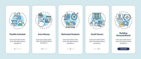 tutoria online benefícios tela de página de aplicativo móvel de integração com conceitos vetor