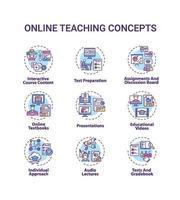 conjunto de ícones de conceito de ensino online vetor