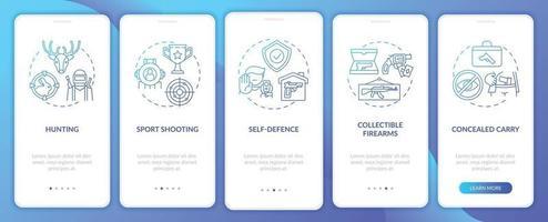 armas para passatempo azul escuro integração tela da página do aplicativo móvel com conceitos