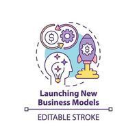 lançamento de ícone de conceito de novos modelos de negócios
