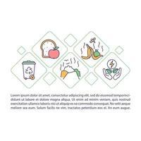 ícone do conceito de resíduo alimentar com texto