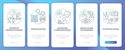 história pessoal de violência azul escuro integração tela da página do aplicativo móvel com conceitos