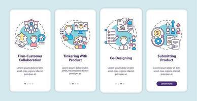 tipos de co-criação na tela da página do aplicativo móvel com conceitos