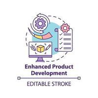 ícone de conceito de desenvolvimento de produto aprimorado