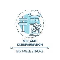 ícone do conceito de desinformação e desinformação vetor