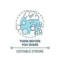 pensando antes de compartilhar o ícone do conceito vetor