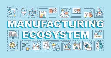 banner de conceitos de palavras de ecossistema de manufatura