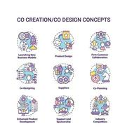 conjunto de ícones de conceito de co-criação