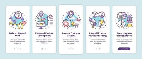benefícios da inovação aberta na tela da página do aplicativo móvel com conceitos