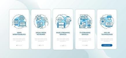 novos tipos de mídia integrando a tela da página do aplicativo móvel com conceitos