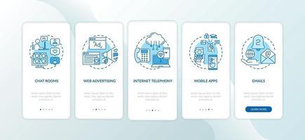novos tipos de mídia na tela da página do aplicativo móvel com conceitos