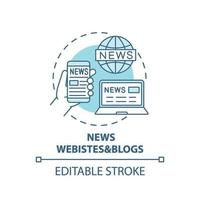 ícone de conceito de sites e blogs de notícias