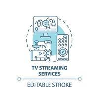 ícone de conceito de serviços de streaming de tv vetor