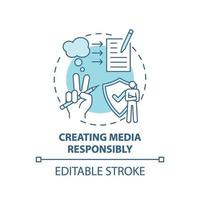 criando ícone de conceito de responsabilidade de mídia vetor