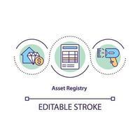 ícone do conceito de registro de ativos