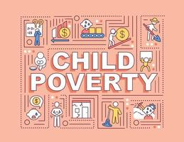 faixa de conceitos de palavras pobreza infantil vetor