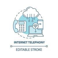 ícone do conceito de telefonia na internet vetor