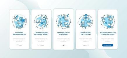 elementos de alfabetização de mídia integrando a tela da página do aplicativo móvel com conceitos