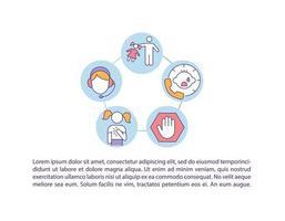Ícone de conceito de linha direta de abuso infantil com texto vetor