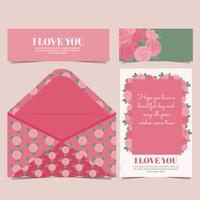 Cartão de rosas de vetor e Envelope