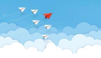 conceito de negócios. avião de papel vermelho voando mudando de direção no céu azul do trabalho em equipe de negócios e uma visão diferente. líder, nova ideia, chefe, gerente, conceito vencedor, tendência. ilustração vetorial vetor