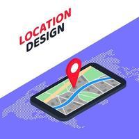 Projeto de localização do conceito de navegação GPS móvel isométrica 3D. ilustração vetorial